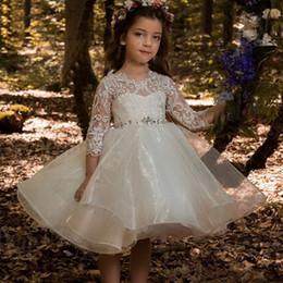 organza wedding dresses flower belt NZ - Luxurious Short Flower Girls Dresses 3 4 Sleeves Lace Applique Beaded belt Organza Puffy Princess Girls Pageant Dresses