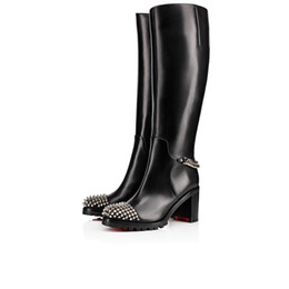 genuine leather over knee boots NZ - Women's Winter Boots Over-Knee Boot Shoes Red Bottom Spiked Toe Napaleon Black Genuine Leather High Heels Boots Discount