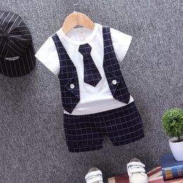 $enCountryForm.capitalKeyWord NZ - Children Tracksuits Baby Boys Girls Short T-shirt Shorts 2Pcs sets Summer Kids gentleman Tie Plaid Bowknot Pure Cotton Clothes