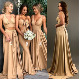 $enCountryForm.capitalKeyWord Australia - Sexy Gold Bridesmaid Dresses slit 2019 A Line V Neck Long Boho country beach Maid of Honor Gowns Plus Size Wedding Guest Party Gowns