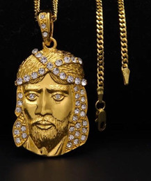 Jesus Christ Gold Pendant Australia - Wholesale-18K Gold Plated JESUS Christ Piece Head Face Hip Hop Pendant Necklace Charm Chain For Men and Women Trendy Holiday Accessories