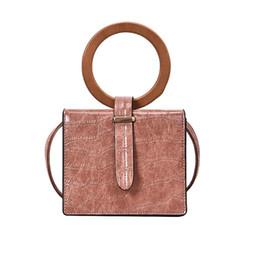 Summer Ladies Handbag Australia - Cross body bag new summer fashion wild lady retro square wood ring beach bags small bag shoulder bags handbags women B2