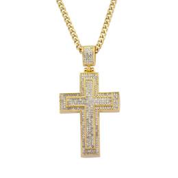 $enCountryForm.capitalKeyWord UK - hip hop cross diamonds pendant necklaces for men women Religious golden luxury necklace Stainless steel Cuban chain Christian jewelry
