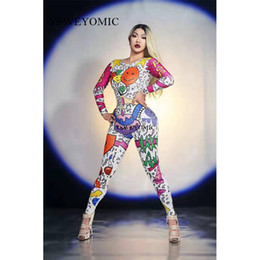 $enCountryForm.capitalKeyWord Australia - Colorful Cartoon Doodle Jumpsuit Outfit Female Singer Performance Party Wear Dance Stage Costume Bodysuit Prom Show Leggings