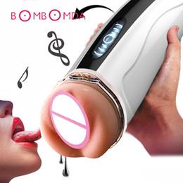 Man Masturbates vagina toy online shopping - Electric Telescopic Deep Throat Heating Men Masturbator Penis Erection Trainer Realistic Vagina Pussy Masturbate Cup Sex Toy C19010501