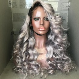 $enCountryForm.capitalKeyWord Australia - Ombre Grey Lace Front Human Hair Wigs For Women Brazilian Body Wave Virgin Hair Full Lace Grey Human Hair Wigs With Bleached Knots