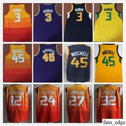 City Edition Orange  45 Donovan Mitchell 12 John Stockton 27 Rudy Gobert 32  Karl Malone Yellow 3 Ricky Rubio 24 Grayson Allen Jerseys faff2d86d