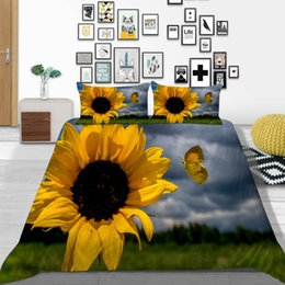 butterfly 3d duvet cover bedding sets NZ - King Size Bedding Set Cloudy Day Simple Sunflower Duvet Cover Butterfly Queen Twin Full Single Double Bed Cover with Pillowcase