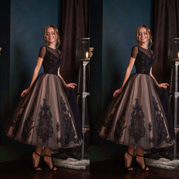Club gowns online shopping - 2020 Allegresse Black Cocktail Evening Dresses Jewel Neck A Line Tulle Applique Fairy Prom Dress Tea Length Custom Made Formal Party Gowns
