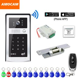 Wholesale Wireless Wifi Video Intercom Doorbell RFID Code Keypad P HD Video Doorbell Intercom Camera for Android IOS Phone Strike Lock