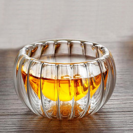 glasses shapes Australia - 50ml Double Wall Pumpkin Shape Tea Cups Heat Resistant Double Layer Glass Teacup Drinkware Creative Gift