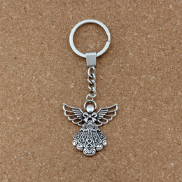 Angels Figures Australia - 15pcs lots Keychain Angel alloy Charms Pendants Key RingTravel Protection DIY Accessories 38.8x42.5mm Pendant A-453f