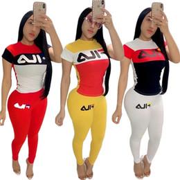 Diseñador de la marca, mujer, traje de atletismo, camiseta, leggings, 2 piezas, camiseta, pantalón, ropa deportiva, ropa de verano, camiseta top, traje deportivo, 603 en venta