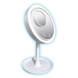 $enCountryForm.capitalKeyWord Australia - 3 in 1 LED Lamp Makeup Mirror With 5X Magnifying Fan Beauty Breeze Cosmetic Mirror Desktop Keep Skin Cool Beauty LED Light Mirror DBC VT0418