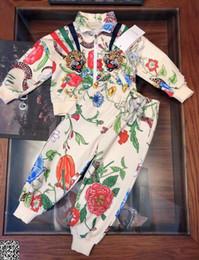 $enCountryForm.capitalKeyWord Australia - Boy jacket sets kids designer clothes autumn fashion sets tiger head floral pattern jacket + flower pattern casual pants