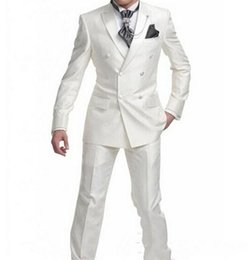 $enCountryForm.capitalKeyWord Australia - Brand New White 2 Piece Suit Men Wedding Tuxdos High Quality Groom Tuxedos Double-Breasted Side Vent Best Men Blazer(Jacket+Pants+Tie) 1309