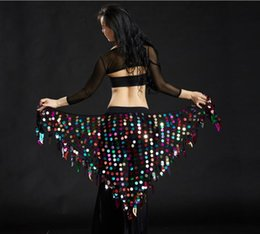 $enCountryForm.capitalKeyWord Australia - Belly Dance Costume Bling Bling Sequine Hip Scarf Tribal Fringe Tassel Wrap Belt Solid Color Red Silver Golden Free Shipping