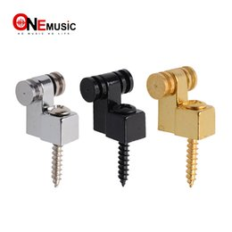 Discount guitar string trees 10Pcs Roller String Tree Retainer For Electric Guitar Chrome Black Gold 3 Color