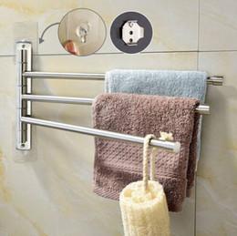 Hot Bar Australia - Wholesales Free shipping Hot salesBrushed Nickel Stainless Steel Self Adhesive Swivel towel Bar Bathroom Towel Rack Swing Hanger Holder Save