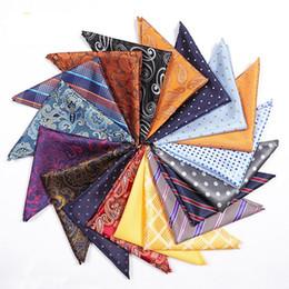 Retro Men Suit Pocket Square Hankerchief 25*25CM Vintage Polyester Hankies Classic Floral Print Square Towel Scarves 100pcs TTA1001 on Sale