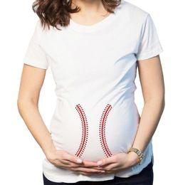 6ee92d6a0c9 Camiseta de maternidad de béisbol Embarazada Verano Camisa divertida  Embarazo Camisetas de béisbol Casual O-cuello de manga corta Mujer Ropa  Tops GGA1901