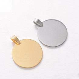 metal identification NZ - 100pcs lot Blank Stainless steel Circle Pet Dog ID tags pet dog Identification tags fashion men pendants