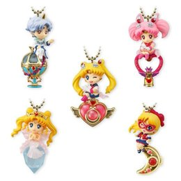 halloween sailor moon Australia - 5pcs Anime Action Figure Twinkle Dolly Sailor Moon Guardian Chibi Keychain Cute Kawaii Cartoon Pendant Bag Box Xmas Gift Toy