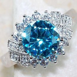 lady princess jewelry NZ - Fashion Big Blue Princess Crystal Stone Ring Charm Jewelry Women CZ Wedding Rings Promise Engagement Ring Ladies Accessories