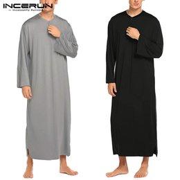 Wholesale men s bathrobes for sale - Group buy INCERUN Men Robes Solid Color Pajamas Long Sleeve Casual Homewear O Neck Button Comfortable Nightgown Bathrobes Men Kaftan S XL