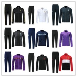 Wholesale 19 Real Madrid long sleeve Jacket suit have inter Soccer Jersey Man Utd Messi white Training uniform black football uniform jacket