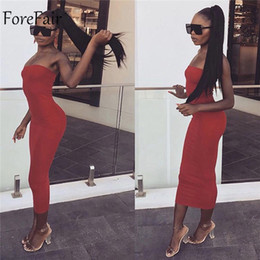 sexy tube white dress Australia - Forefair Sexy Long Dress Women Summer 2019 Club Off Shoulder Strapless Bodycon Dress White Black Red Party Tube Dress Women S19709