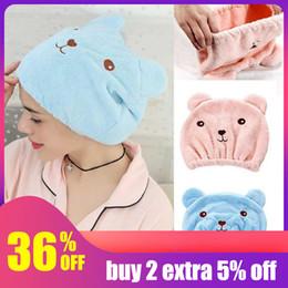 Bathing Towels Australia - Cheap Hoomall Dry Hair Hat Microfiber Hair Turban Quickly Dry Hat Wrap Towel Bathing Cap Towels Bathroom Bath Towels