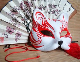 Painting Faces Australia - Hand- painted Fox Mask Endulge Japanese style Full Face PVC Halloween Animal Mask Masquerade Cosplay Party Masks Free Shipping