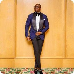 $enCountryForm.capitalKeyWord Australia - Royal Blue Groom Tuxedo Men Suits for Wedding Black Shawl Lapel Groomsmen Jacket 2Piece(Coat+Pants)Slim Fit Costume Homme trajes hombre