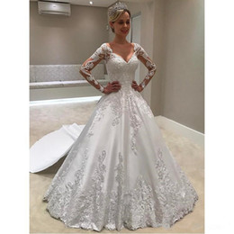 $enCountryForm.capitalKeyWord NZ - Gorgeous Long Sleeves Wedding Dresses With Sweetheart Lace Appliques Sweep Train Elegant A Line Garden Wedding Gowns