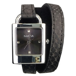 Venta al por mayor de Nafisa 2019 Hot Fashion Silver Color Rectangular Case Black Thin Warp Around Pulsera Correa Reloj de pulsera NA-0071