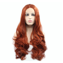 $enCountryForm.capitalKeyWord UK - Dark Orange Red Body Wave Hand Tied Synthetic Lace Front Wig Glueless Heat Resistant Fiber Hair Free Parting For Women