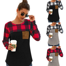 round neck full sleeves t shirts NZ - Women Plaid SleeveTops Europe United Round Collar Long Sleeve T-shirt Spring Autumn Lady Blouse Girls Pocket Tops WY182Q