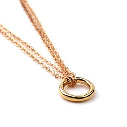 Circle Chains Australia - Hot Sale Karma 2 Linked Gold Plated Circle Eternity Pendant Necklace Clavicle Chains Fashion Statement Necklace Women Jewelry with card