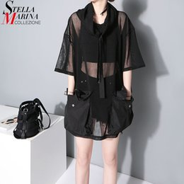 Black See Through Tee Australia - 2018 Japanese Style Summer Women See Through Mesh Tee Top 1 2 Sleeve Oversized Black T Shirt Femme Hipster Harajuku T-shirt 1549 Q190428