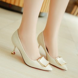 $enCountryForm.capitalKeyWord NZ - Dress Shoes 2019 Pantent Leather Concise Office New Arrival Show Thin Sexy Women Pumps Shallow Fashion Women's High Heels