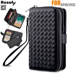 $enCountryForm.capitalKeyWord Australia - wholesale Brand Original Case For iPhone 6s 7 8 Plus Xs Zipper Removable Wallet Bag Woven Leather Case Cover +Tempered Glass