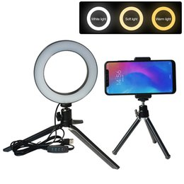 Usb Rings NZ - LED selfie Beauty Ring Light for Youtube Live stream salon makeup 14.5 16  20  26cm USB 5V input, 3 colors adjustable, Dimmable phone holder