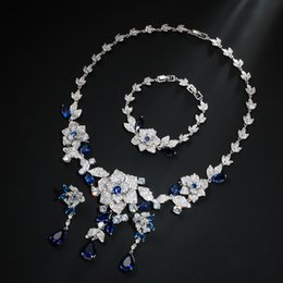 New fashion shinning multi-color flowers CZ zircon necklace earring  bracelet wedding bride banquet dressing formal jewelry set d4601718edae