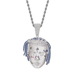 24e71c8d1562 United State hip hop Singer XXXTentacion head portrait necklace with Zircon  Twist chain personality fashion Pendant copper jewelry wholesale