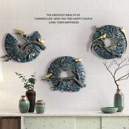3d Wall Round Sticker Australia - American 3D Stereo Wall Resin Round Bird Mural Crafts Ornament Creative Chinese Corridor Aisle Home Wall Decoration Accessories