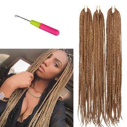 two tone braid hair 2019 - Hot Sale! 18 22inches Box Braids Crochet Hair Extensions 100g pcs Kanekalon Two Tone Ombre Braiding Hair Synthetic Croch