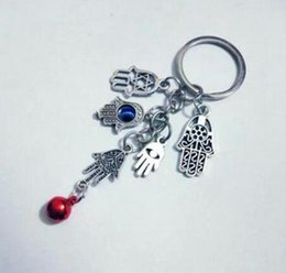 keys bell NZ - Lucky Hamsa Fatima Hand Evil Eye&Mix Bell Pendants Charm Anti-Theft Keychain Gift Fit DIY Key Chains Accessories Jewelry 758