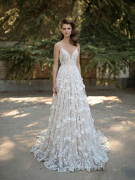 Discount shirt beach spaghetti wedding dress - 2019 Berta Bridal Wedding Dresses Spaghetti Sweetheart Neckline Backless Lace Applique Bridal Gowns Cathedral Train Slee