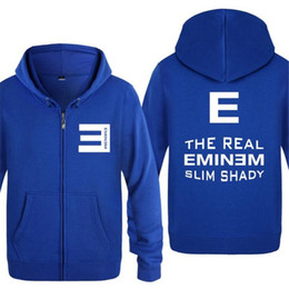 eminem hoodie red NZ - Mens Hoodie Rock The Real Eminem Slim Shady Hoodies Men Hip Hop Fleece Long Sleeve Zipper Jacket Coat Sweatshirt Skate Tracksuit